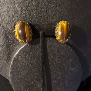 Vintage Miriam Haskell tigereye gemstone earrings